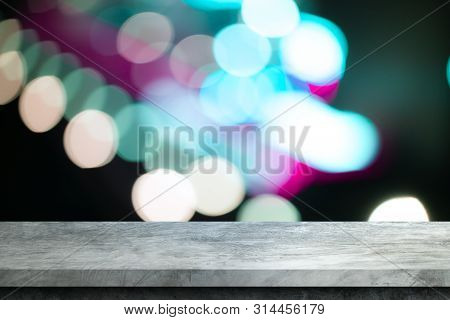 Old Gray Cement Shelf Table With Blur Bokeh Backgrounds,white Room, Interior,for Display Products.be