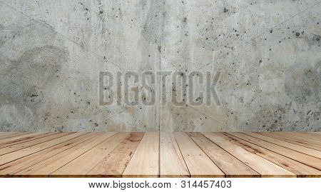 Old Cement Wall And Wooden Floor Backgrounds,for Display Products.