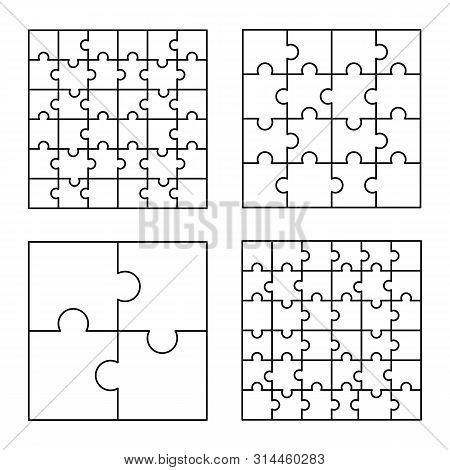Jigsaw Pattern Set. Outline Illustration Of Jigsaw Vector Pattern Set For Web Design