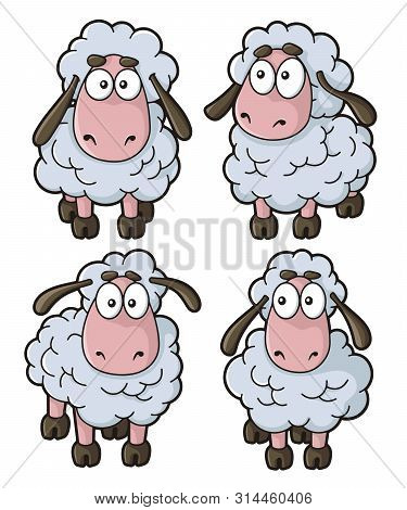 Four Sheep Cartoon Icons Isolated On White Background.