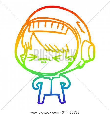rainbow gradient line drawing of a angry cartoon space girl