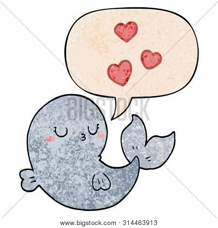 cute cartoon whale in love with speech bubble in retro texture style