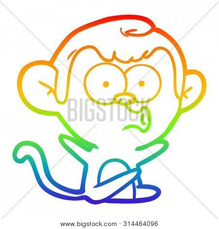 rainbow gradient line drawing of a cartoon hooting monkey poster