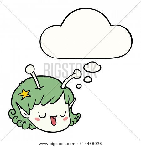 cartoon alien space girl face with thought bubble