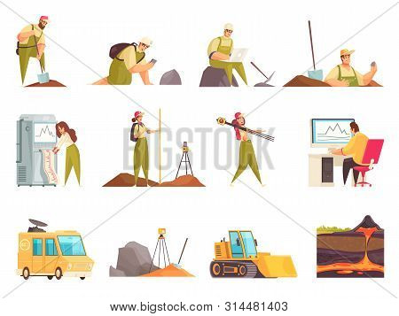 Geologist Set Of Isolated Flat Doodle Style Icons And Images With Geology Workers Equipment And Tran