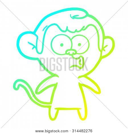 cold gradient line drawing of a cartoon hooting monkey poster