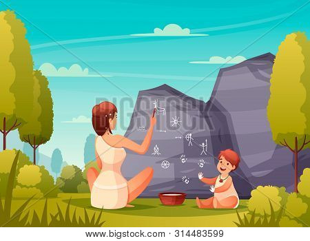 Prehistoric People Rock Art Flat Composition With Caveman Woman And Kid Painting On Cave Wall Vector