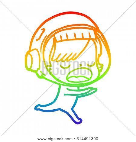 rainbow gradient line drawing of a cartoon astronaut woman running