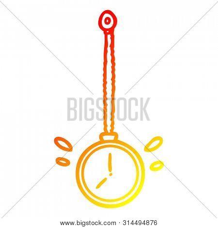 warm gradient line drawing of a swinging gold hypnotist watch