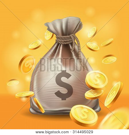 Moneybag And Gold Coins. Money 3d Vector Icon.design Element, Clipart With Sack , Metal Money.whirl,