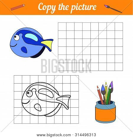 Fish Coloring Book Copy On The Grid. With A Sample Of Blue Tang Fish And Bubbles. Leisure Developmen