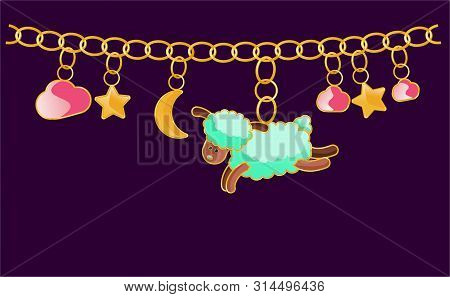 Gold Bracelet With Charms. Collection Of Pendants - Sheep, Stars, Moon, Pink Clouds. Design Jewelry.