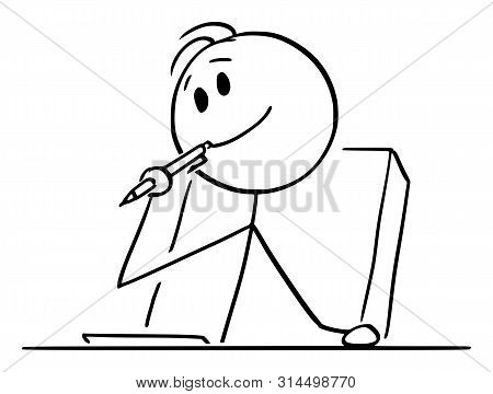 Cartoon Stick Figure Drawing Conceptual Illustration Of Creative Man Or Businessman Or Writer Thinki