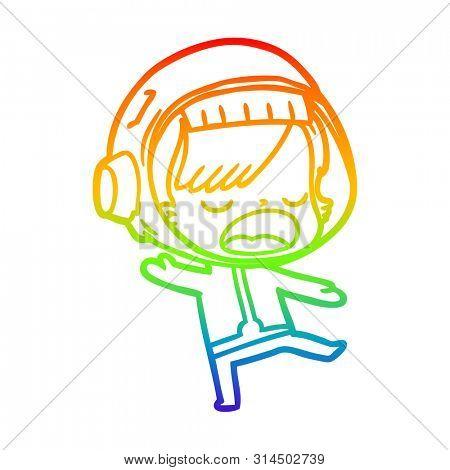rainbow gradient line drawing of a cartoon talking astronaut woman