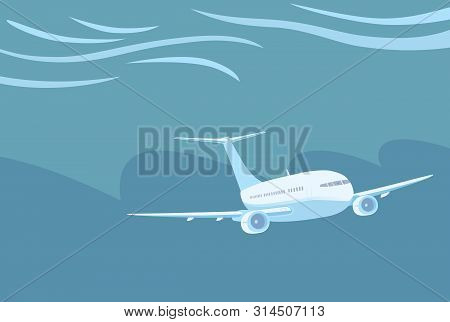 Airplane With Two Engines Flying In Severe Weather Conditions.