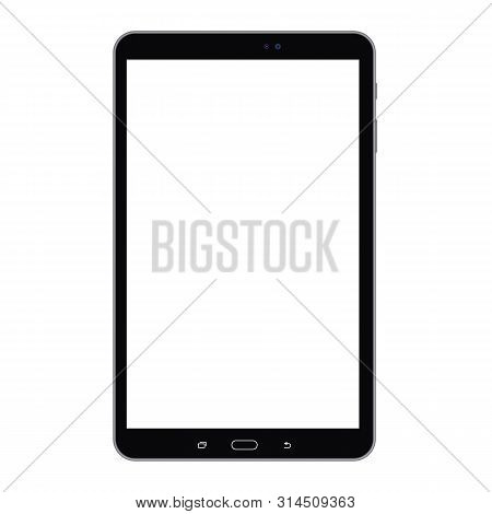 Black Long Tablet With Empty White Screen, Isolated On White. Tablet Black Color With White Screen V
