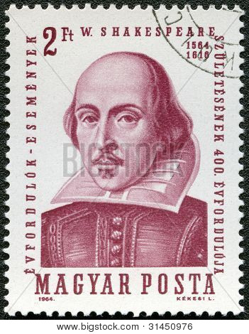 Hungary - Circa 1964: A Stamp Printed In Hungary Shows Image Of William Shakespeare (1564-1616), Cir