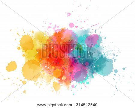 Multicolored Splash Watercolor Paint Blot - Template For Your Designs.