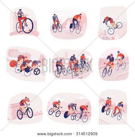 Set Of Compositions With Bicyclists During Cycling Tour On Background Of City Or Nature Isolated Vec