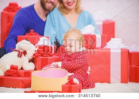 Family Love Concept. All We Need Is Love. Couple In Love With Baby Toddler Celebrate Anniversary. Lo