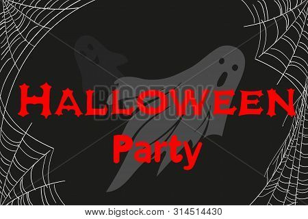 Invitation To The Halloween Party With Ghosts And Cobwebs. Vector Cartoon Illustration