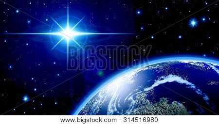 Abstract, Astronomy, Atmosphere, Background, Blue, Blue Star Radiance ,brilliance, Space, Globe ,fla