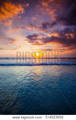 Radiant colorful sea beach sunset on Bali, Indonesia