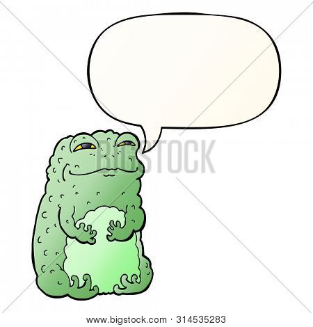 cartoon smug toad with speech bubble in smooth gradient style
