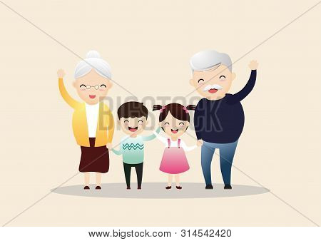 Family Together. Group Of People Standing. Little Boy, Teenager Girl, Woman, Old Man, Senior Woman,g