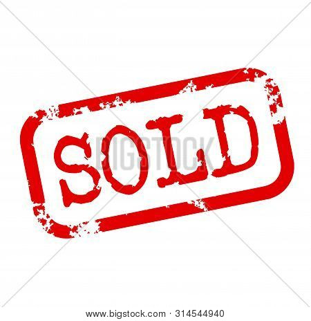 Sold Stamp On White Background. Stickers And Stamps Series.