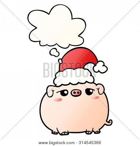 cartoon pig wearing christmas hat with thought bubble in smooth gradient style