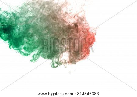 A Cloud Of Green Smoke With A Red Impurity In The Upper Corner Of The Frame On A White Background. P