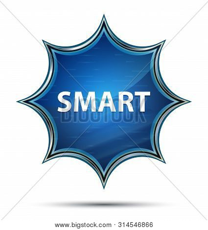 Smart Isolated on magical glassy sunburst blue button poster