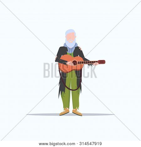 Bearded Man Beggar Playing Guitar Tramp Begging For Help Homeless Jobless Concept Flat Full Length W