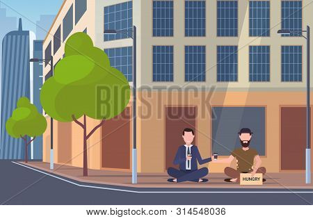 Business Man Drinking Coffee Talking With Beggar Sitting On City Street Hungry Sign Board Begging Fo