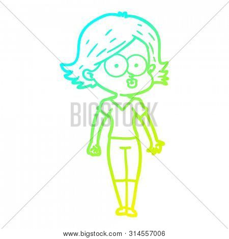 cold gradient line drawing of a cartoon girl pouting poster