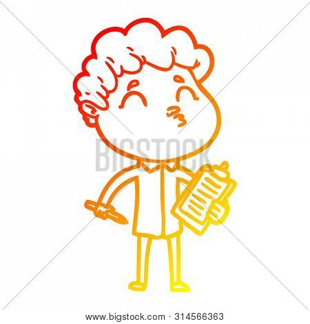 warm gradient line drawing of a cartoon man pouting poster