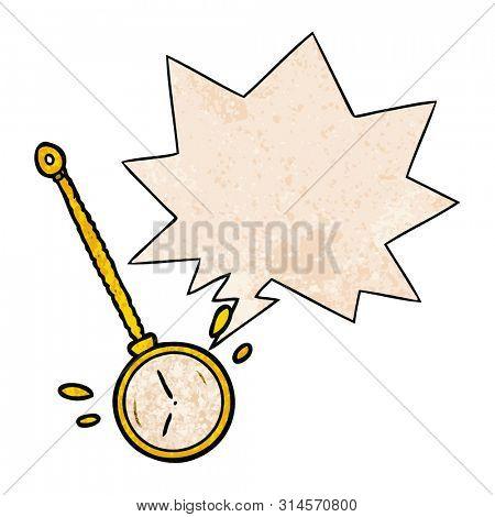 cartoon swinging gold hypnotist watch with speech bubble in retro texture style