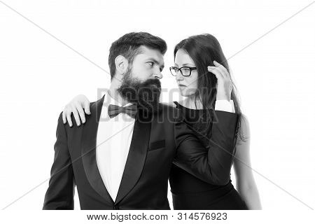 Married couple romantic date. Cuddling with darling. Tender hug. Man and woman elegant dressed ready for night out. Celebrate anniversary. Romantic couple wear formal clothes. Couples bucket list. poster