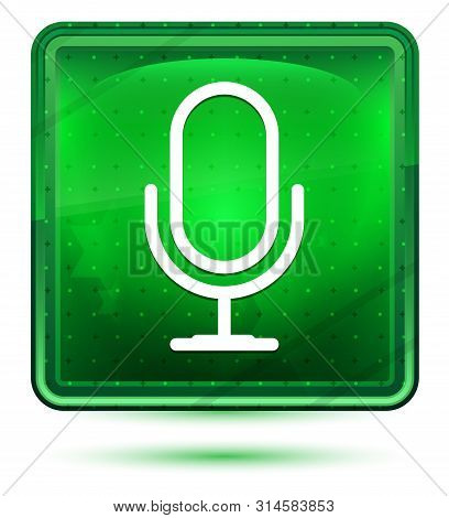 Microphone Icon Isolated On Neon Light Green Square Button