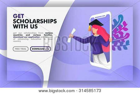 Vector Illustration Concept. Blue Website Banner About Scholarship Programs. Women With Toga Come Ou
