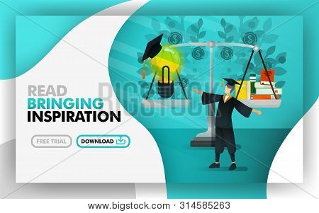 Vector Illustration . Green Website Banners About Reading Bring Inspiration. Bachelor Was Standing B