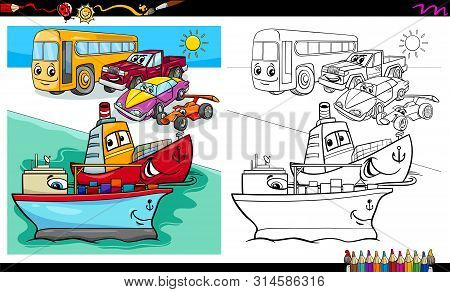 Cartoon Illustration Of Cars And Ship Transport Characters Group Coloring Book Worksheet