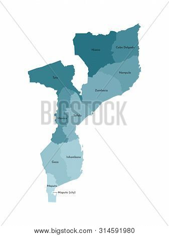 Vector Isolated Illustration Of Simplified Administrative Map Of Mozambique. Borders And Names Of Th