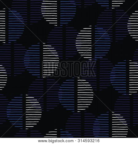 Exaggerated Dark Retro Geo Dots Vector Seamless Pattern. Over Scaled Modern Geometric Blue And Black
