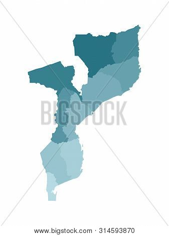 Vector Isolated Illustration Of Simplified Administrative Map Of Mozambique. Borders Of The Province