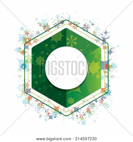 Record Icon Isolated On Floral Plants Pattern Green Hexagon Button