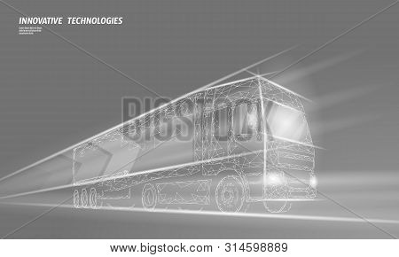 Low Poly Transport Abstract Truck. Lorry Van Fast Delivery Shipping Logistic. Polygonal Gray Fog Spe