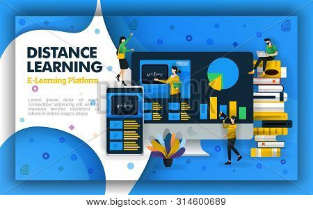 Vector Distance Learning Technology Illustration. Internet Based School Education And Learning Video
