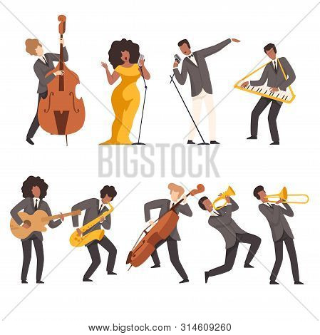 Jazz Band Group, Musicians Singing And Playing Trumpet, Keyboard, Saxophone, Trombone, Guitar, Doubl